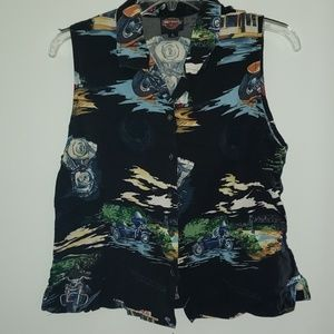 Harley Davidson sleeveless motorcycle print blouse